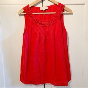 LOFT red sleeveless blouse scoop neck sz M